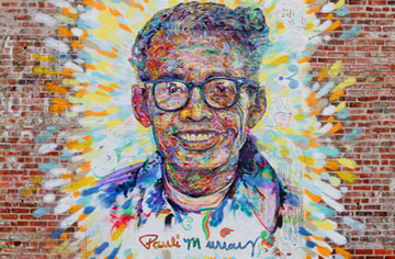 Photo of Pauli Murray mural