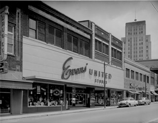 The picture shows Evans United Department Store in the 1950's.   Photo courtesy of the Durham Herald Sun