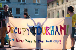 Occupy Banner - From New York to the Bull City