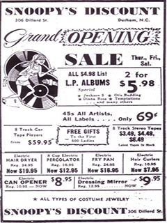 Flyer from Snoopy's Discount Records