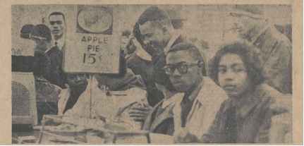 Some of the students participating in the sit-down protest in Durham's Woolworth's Store on February 8, 1960.  Photo from Campus Echo on February 26, 1960