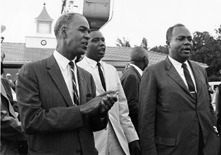 Protesters were led by Floyd McKissick, Roy Wilkins and James Farmer